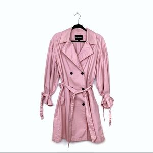 Who What Wear Pink Double Breasted Trench Coat